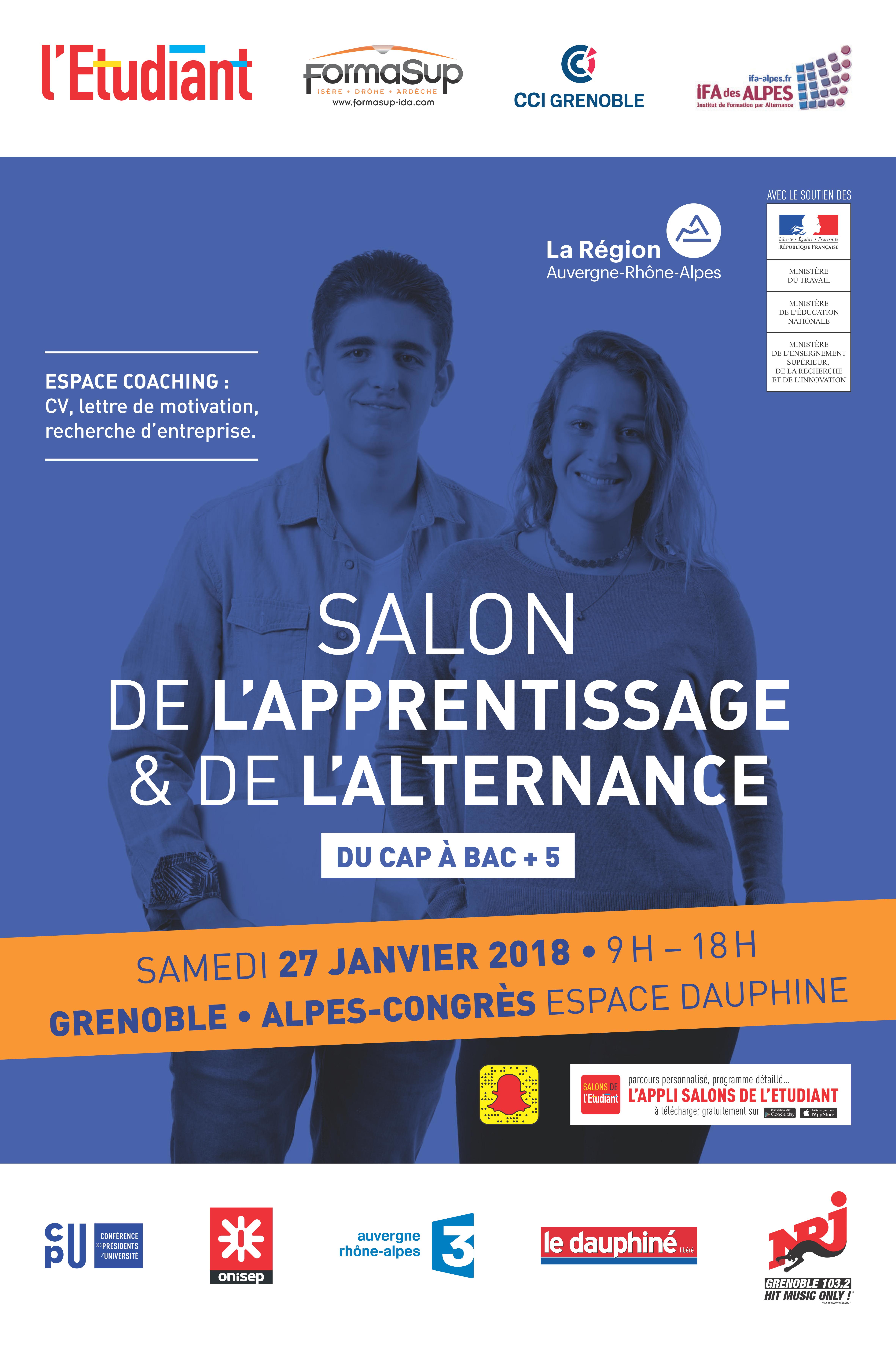 La 7ème édition du Salon de l'Apprentissage et de l'Alternance de Grenoble aura lieu le Samedi 27 janvier 2018 de 9 h 00 à 18 h 00 à Alpes Congrès […]